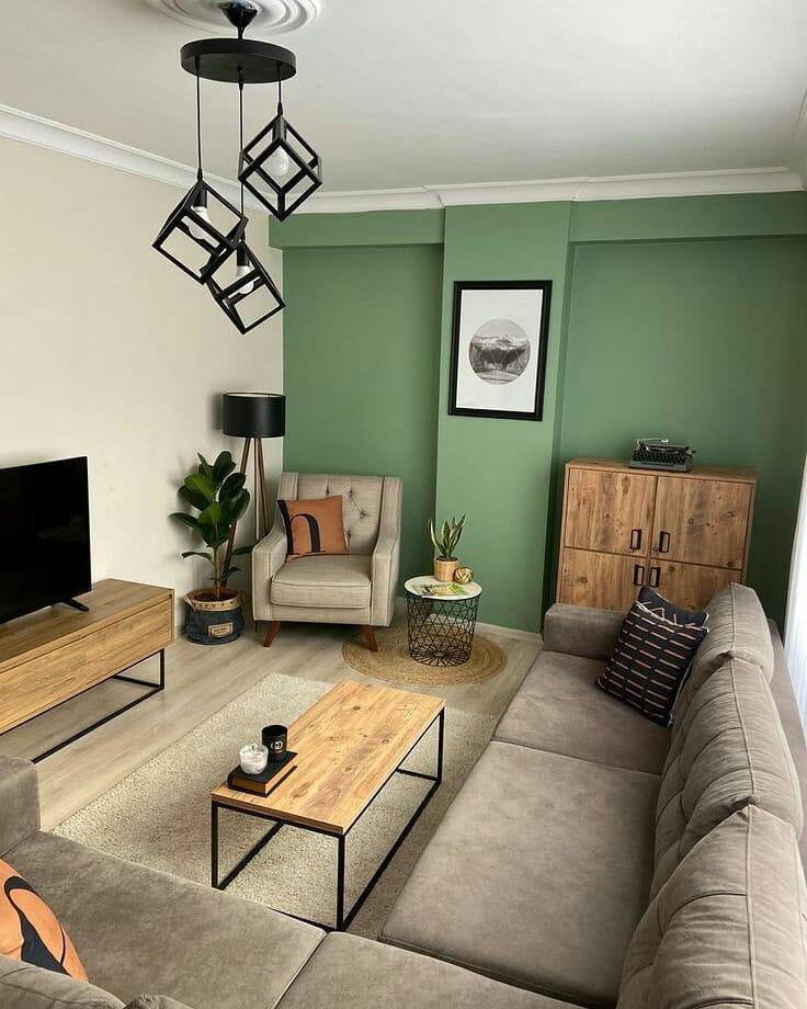 mur vert dans la décoration de la chambre
