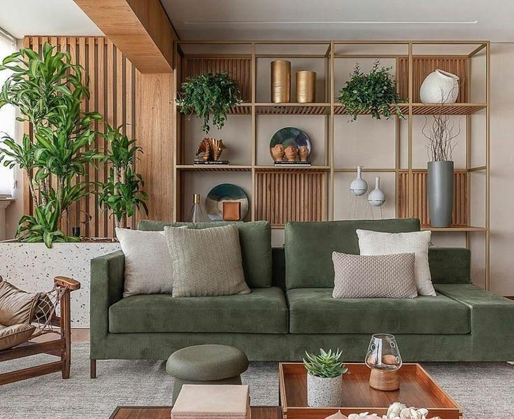 canapé vert avec menuiserie bois