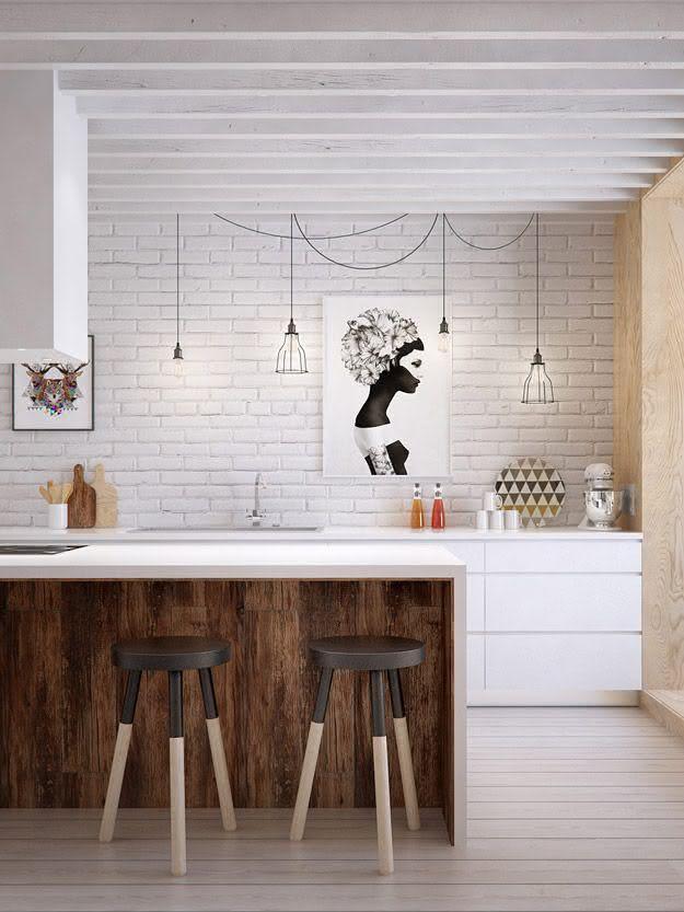 Tabouret de cuisine en bois bicolore