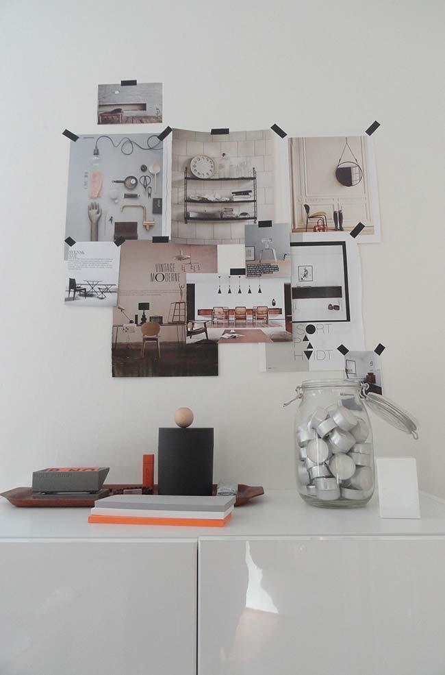 Photos au mur avec décoration ruban électrique