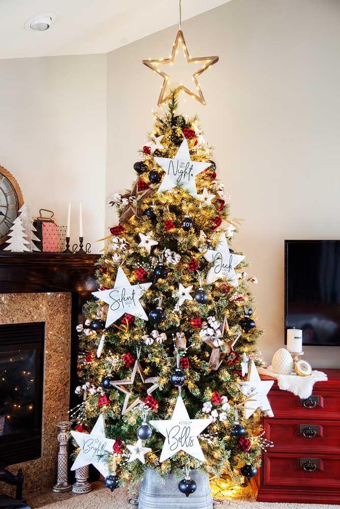 Les étoiles de Noël sont le point culminant de cet arbre