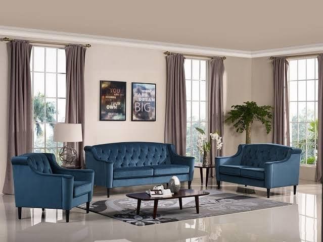 ensemble de canapé chesterfield bleu moderne