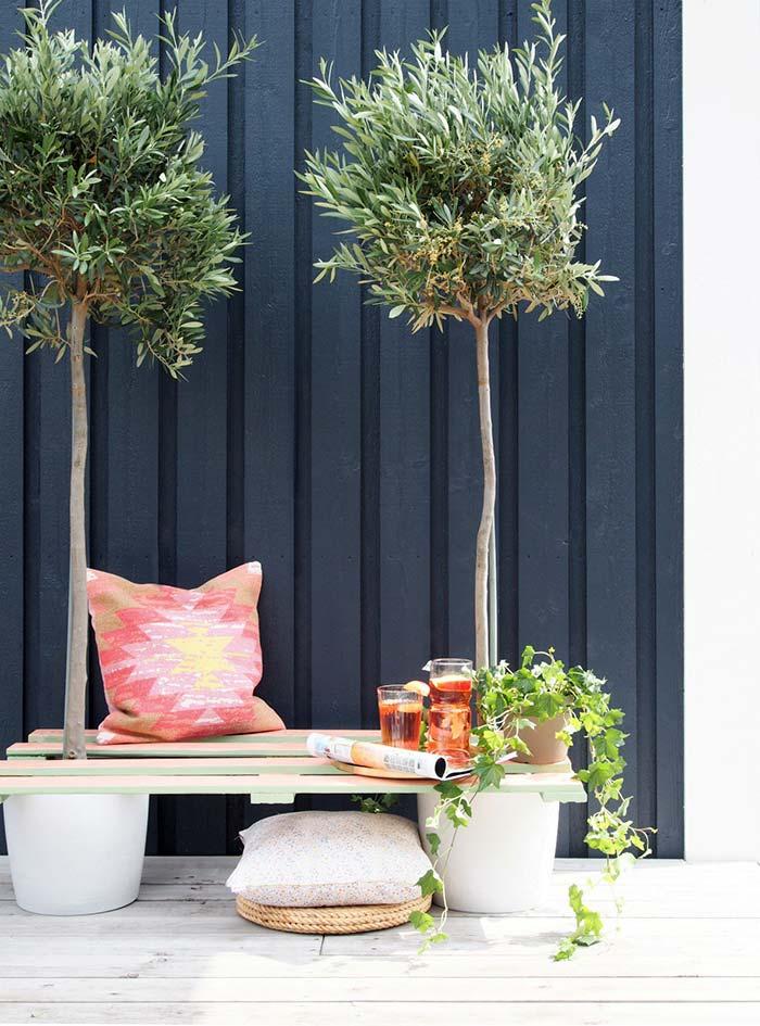 Banc de palette avec plantes en pot