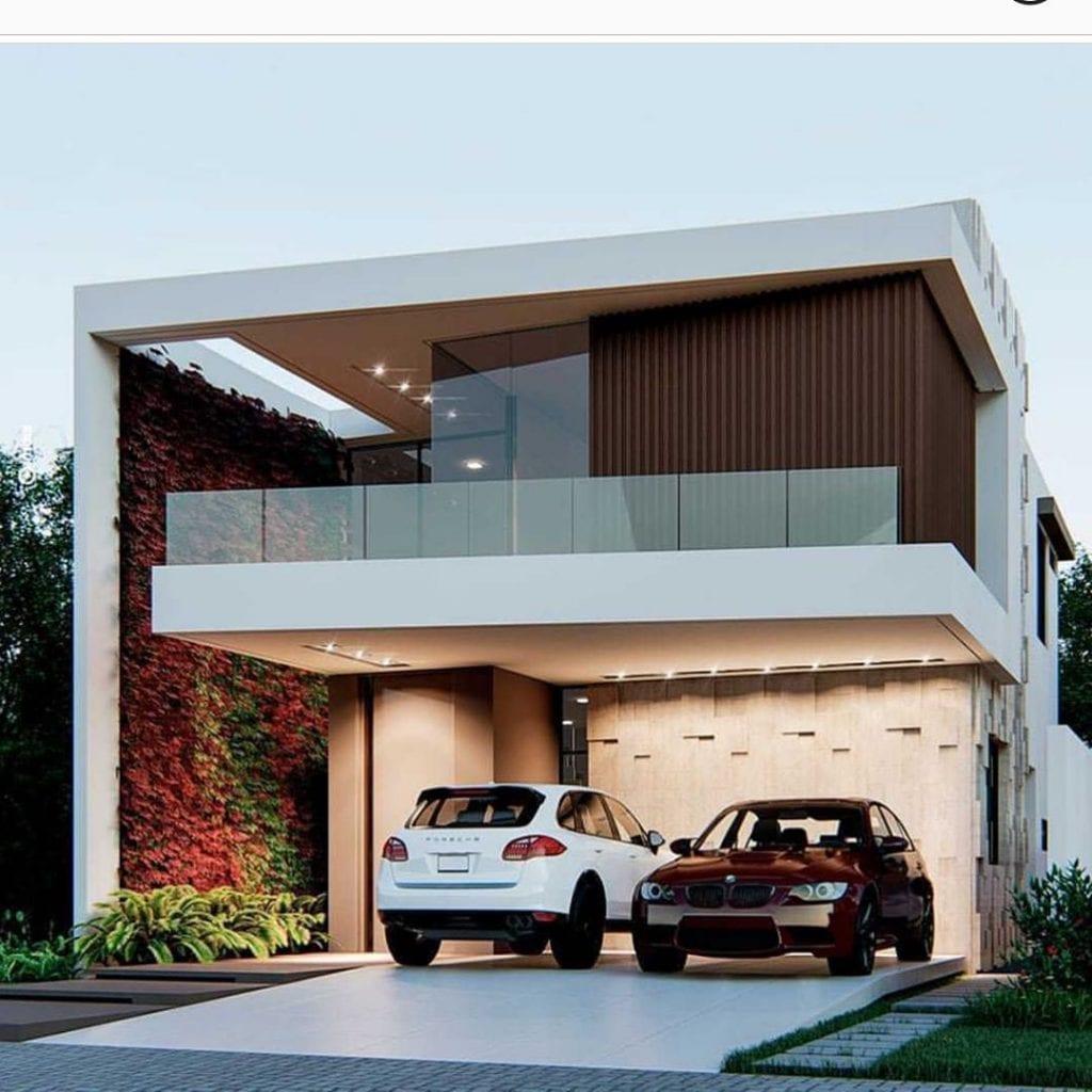 maison avec balcon en verre