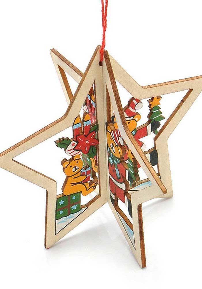 Étoile de Noël en trois dimensions décorée de jolis ours en peluche