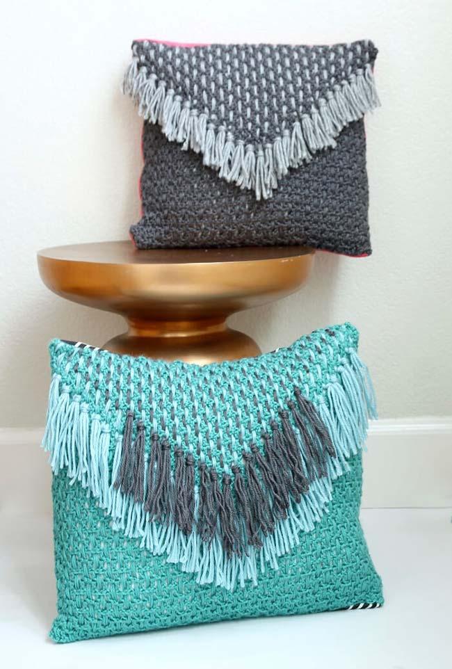 Housse de coussin enveloppe motif crochet