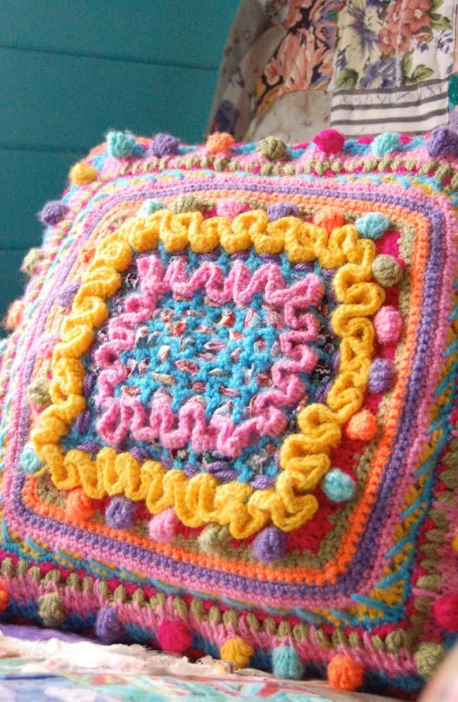 Housse de coussin au crochet pour décor rustique