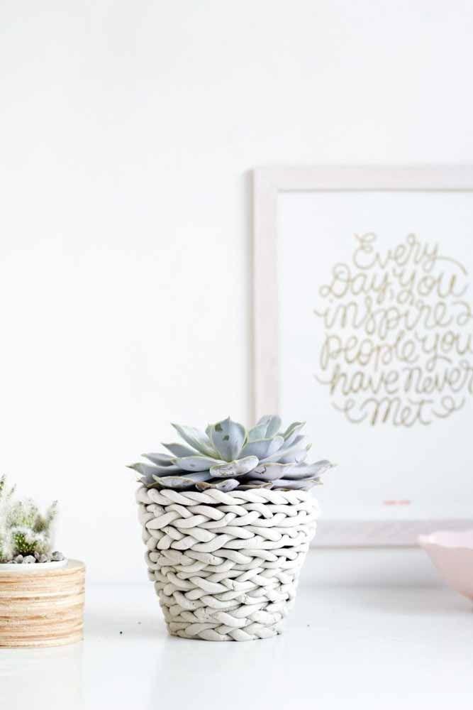 Maxxi crochet tapissant le petit vase de plantes succulentes