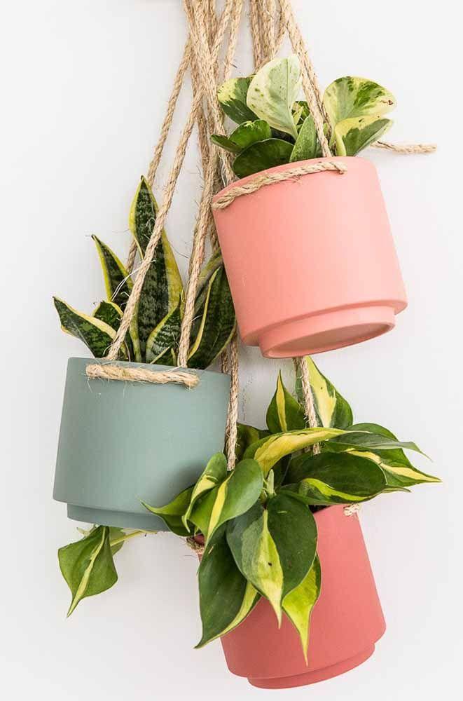 Les cordes de sisal apportent la touche rustique à cet ensemble coloré de cache-pots