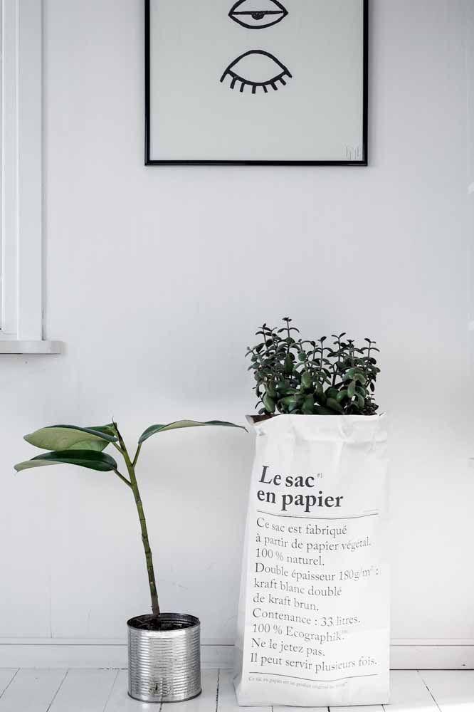 Un sac et une canette: lorsque la proposition est une décoration dépouillée, ces objets deviennent d'excellentes options de cache-pot