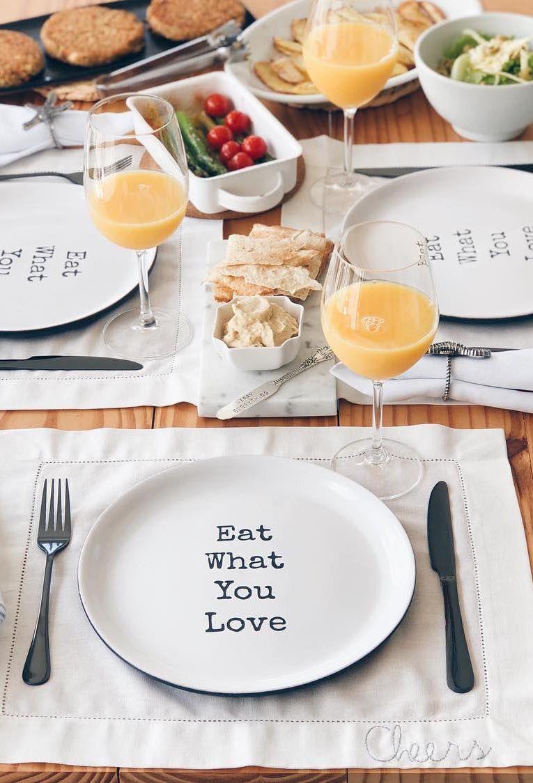 Assiette avec message pour set de table
