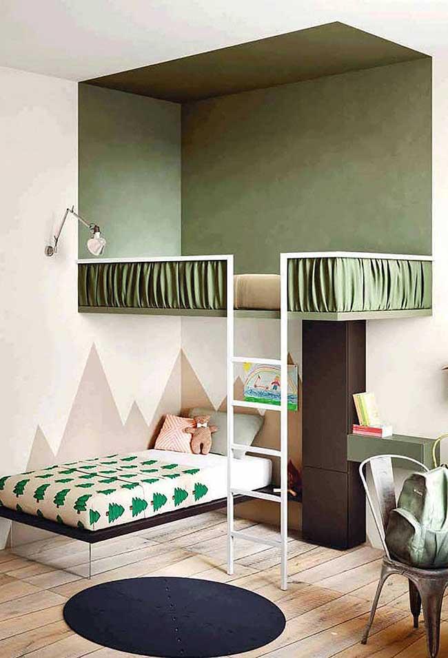 Chambre d'enfants décorée dans des tons verts