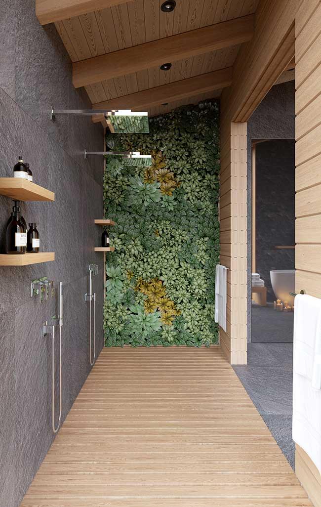 Mur de salle de bain vert vivant