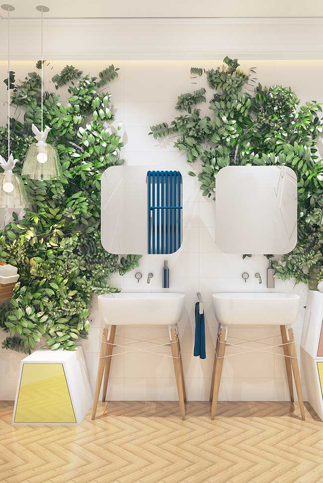 Mur de salle de bain vert avec des feuilles