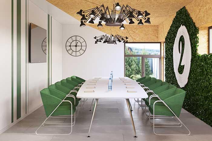 Mur végétal en salle de réunion