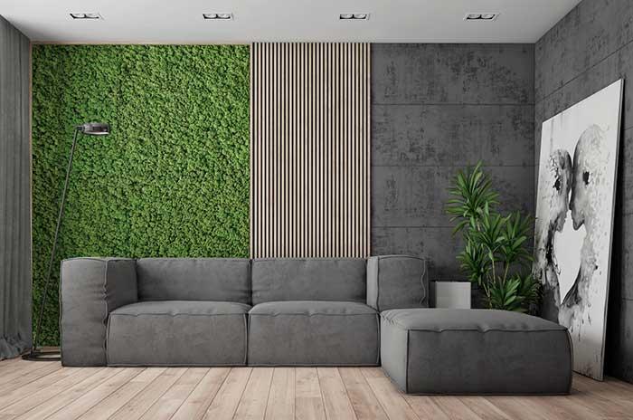 Mur vert et gris