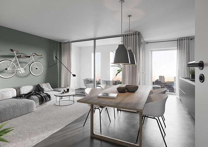 Mur de salon moderne vert