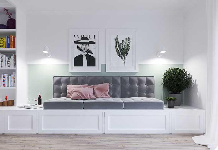 Mur vert menthe dans la chambre