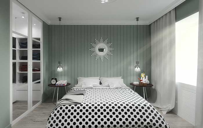 Chambre double mur vert menthe