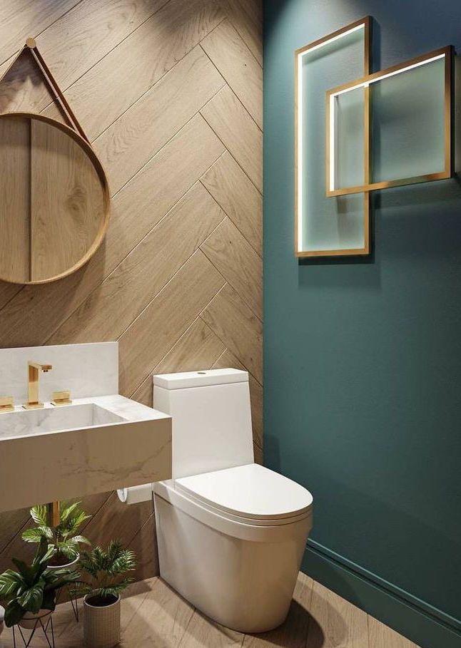 Mur vert olive dans la salle de bain